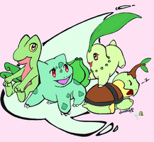 Grass Poke. collab with Lunaki by Bubby-Bobble
