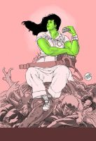 She-Hulk inspired by Normal Rockwell by geraldohsborges