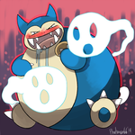Commission Snorlax used Curse by Phatmon66