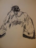 Sitting girl with shoulder blades askew by InsaneRasberry