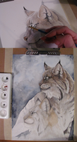 Lynx Pair Work In Progress by MorRokko