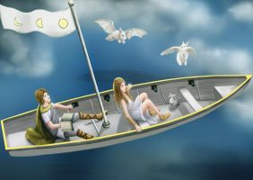 Luna and Lapin in the Boat Flight from the moon by Guangtung
