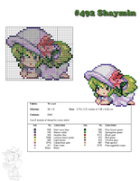 #492 Shaymin Moemon Cross Stitch by zombiefriedchicken