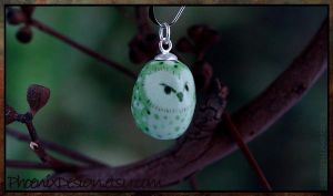 Green Owl Ceramic Pendant by StephaniePride