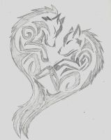 Wolf Tribal Heart by wolfhappy
