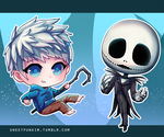 Jack Frost and Jack Skellington, Chibi Stickers! by MoonlightTheWolf