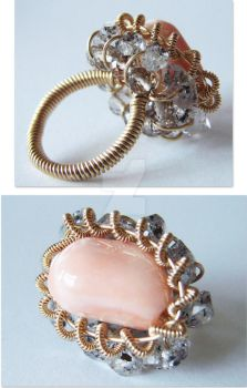 Angelskin Coral Herkimer RING by CrysallisCreations