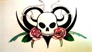 Skull With Roses by dmillersquared
