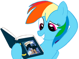 Rainbow Dash reads a new book. by Tiger-the-pegas