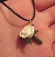 White rose necklace by MeticulousBlue