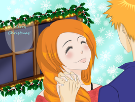 IchiHime Christmas (late upload) by WhipLeen
