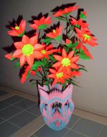origami vase and flowers by dfoosdc