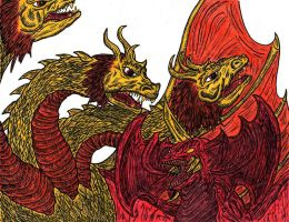 King Ghidrah vs Destroyah by earthbaragon