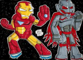 Iron man and Ultron by Drew0b1