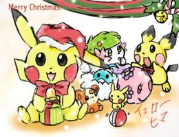 Merry christmas pokemon by yellowhima
