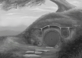 Bag End in greyscale by Wictorian-Art