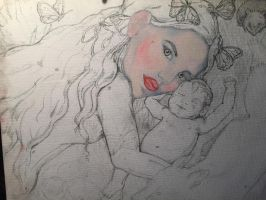 Mother and child beginning painting  by PoppyRed24