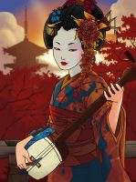 Autumn sunset Geisha by FelipeJiRo
