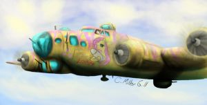 Fluttershy in a B-17 by TatterTailArt