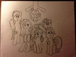 Mane 6 inking! by ginsenq
