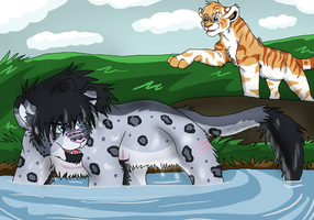 EBC : Shani and Damasen at the River by Firewolf-Anime