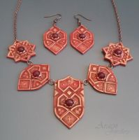 Sultana Arabesque Jewellery Set with Ruby Jade by Araen