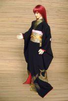 BJD Sokuto, Black Formal Furisode 3 by InarisansCrafts