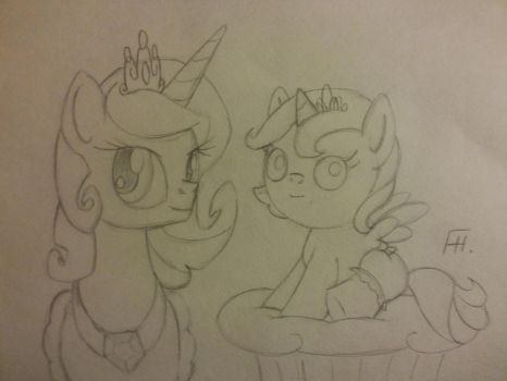 Celestia and Luna. Scetch. by GerasimovaJanna