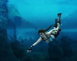 Lara Croft - Swimming by Halli-well