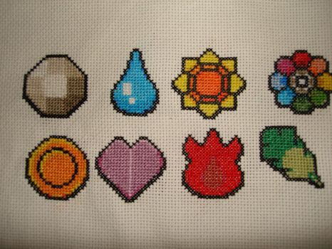 Pokemon Badge Sampler 1 by Schrimpyoctopus