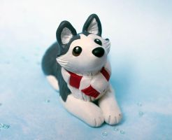 Winter Husky dog sculpture by SculpyPups