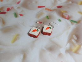 Carrot Cake Earrings by okapirose