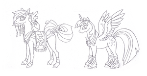 Ponies and Saddle Arabia 2 style cannon. Twilight by FoldawayWings