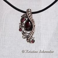 Theodora Slide Pendant in Garnet by Wiresculptress