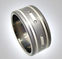 Titanium Sterling Diamond Ring by Spexton