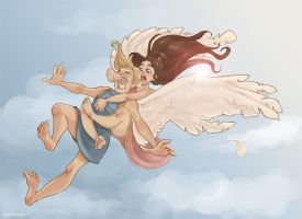 On Eros' wings by Ninidu