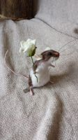 Piebald needle felted mouse brown / white cute by thewishingshed