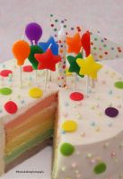 Pastel Rainbow Birthday Cake by theresahelmer