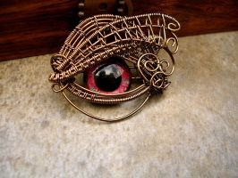 Intense Red Bronze Pendant - Steampunk Colors by LadyPirotessa