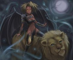 Lion Rider in the mist by hybridmink