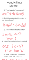 Handwriting meme (re-done) by anime-lover05