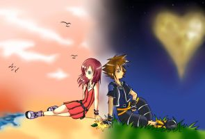 Sora and Kairi-connected by KoiGirlie