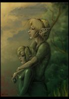 Link and Saria by Wictorian-Art