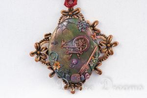Witch's Attic Pagan Wiccan Spinning Wheel Pendant by DeidreDreams