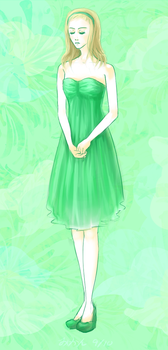 girl in a green dress by TangyMikan