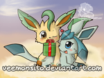 New year Leafeon and Glaceon by Veemonsito
