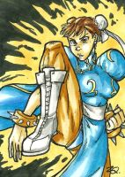Chun-Li Sketch Card by ibroussardart
