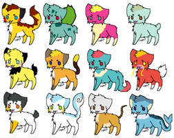 Pokemon Cats adoptables 1 by rongothepony