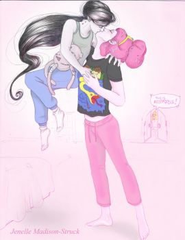 Marceline and Princess Bubblegum kiss by JenelleArt