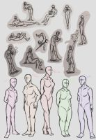 Poses and Body Types by PhantomWise19
